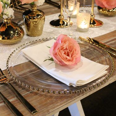 CHARGER PLATES, GLASSWARE & CUTLERY