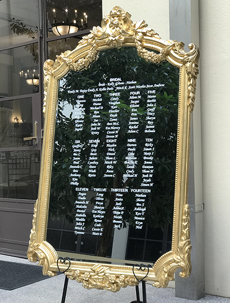 Large Gold Ornate Mirror With Personalised Names Beautiful Wedding Hire