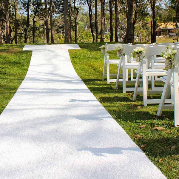 White Outdoor Carpet Aisle Runner 6m