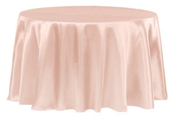 Blush Satin Tablecloth Round