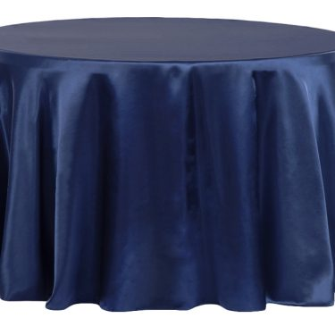 Navy Satin Tablecloth Round