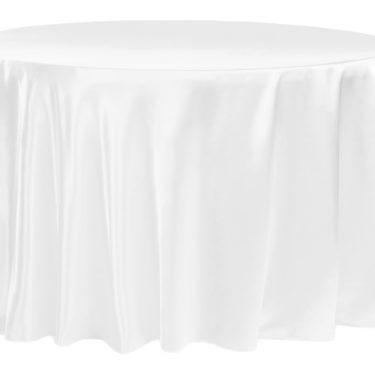 White Satin Tablecloth Round