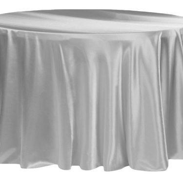 Silver Satin Tablecloth Round
