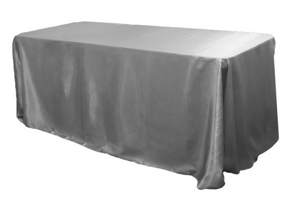 Silver Satin Tablecloth Rectangle