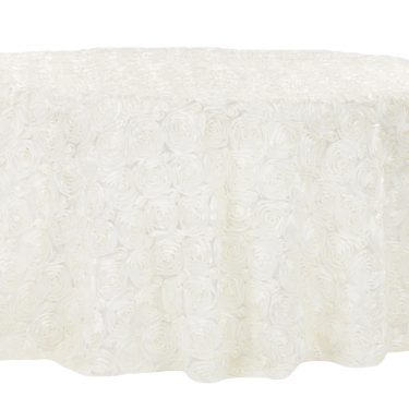 Ivory Rosette Tablecloth Round